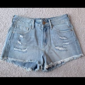 High waisted light wash distressed jean shorts